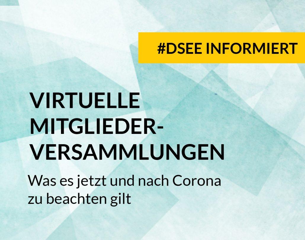 DSEE informiert Online Mitgliederversammlungen