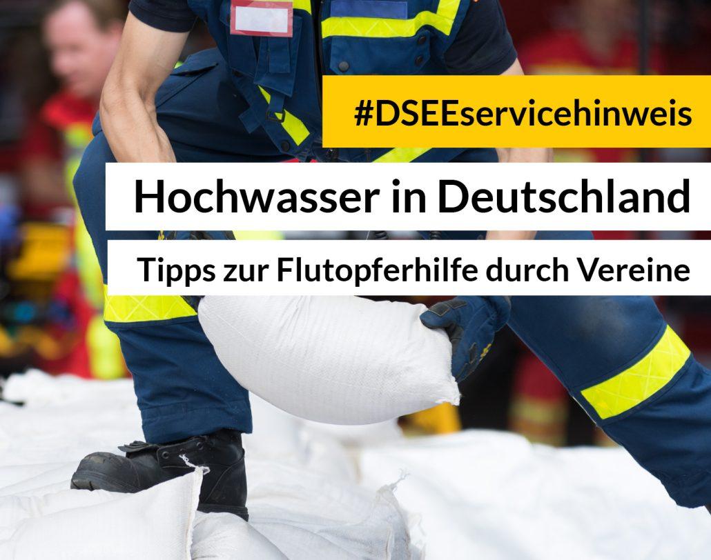 Feuerwehrmann reicht Sandsack weiter. Aufschrift: #DSEEservicehinweis Hochwasserkatastrophe. Unterstützung vor Ort